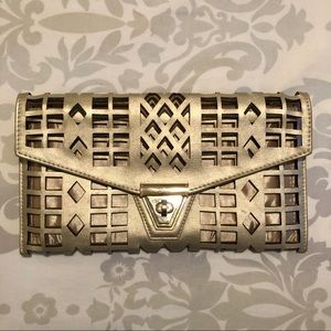 Metallic Gold Cut Out Zipper Clutch/Evening Bag